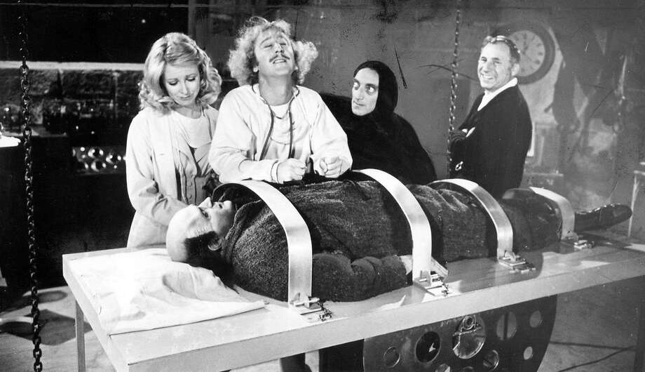 1974 staff file photo from the set of Young Frankenstein. From left: Teri Garr, Gene Wilder, Marty Feldman, Mel Brooks and Peter Boyle as Young Frankenstein. (File Photos/Los Angeles Times/TNS) Photo: File Photo, TNS