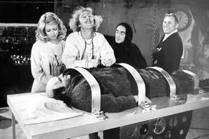 1974 staff file photo from the set of Young Frankenstein. From left: Teri Garr, Gene Wilder, Marty Feldman, Mel Brooks and Peter Boyle as Young Frankenstein. (File Photos/Los Angeles Times/TNS)