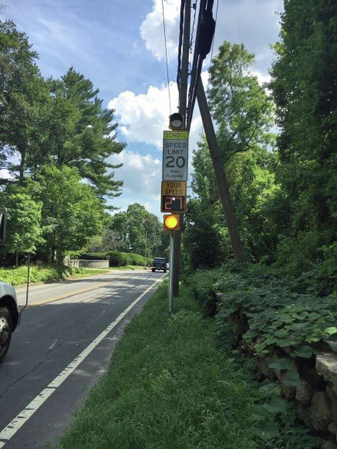 Flashing speed limit signs have been installed near public schools across town. Photo: Contributed / Contributed Photo / Greenwich Time Contributed