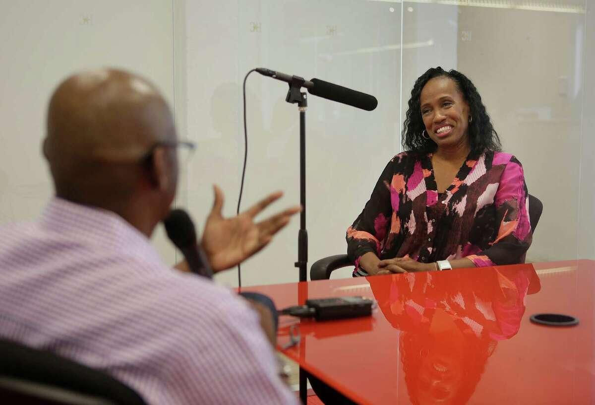 Jackie Joyner-Kersee records a podcast with Jerome Soloman during a visit to the Houston Chronicle, Thursday, Aug. 25, 2016, in Houston.