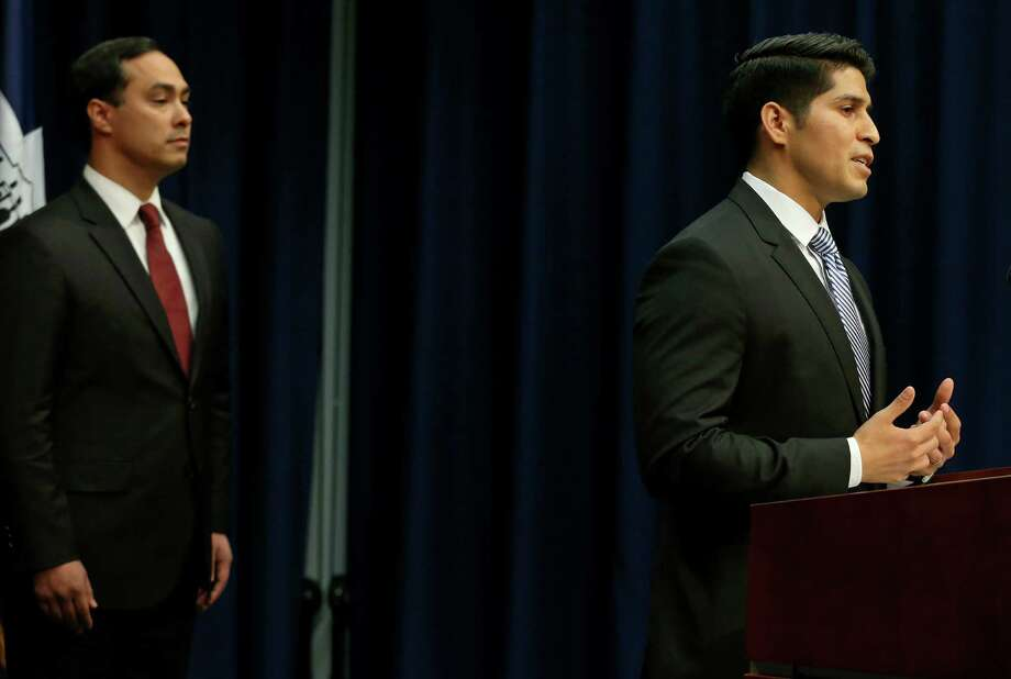 "Then-Councilman Rey Sandaña, right, is shown with U.S. Rep. Joaquin Castro, in this 2016 photo. He can be mayor if he wants to be. ""He could be a congressman,"" says Castro, for whom Saldaña interned in 2009. Leading CIS ""will only enhance his future."" Photo: Edward A. Ornelas /San Antonio Express-News / © 2016 San Antonio Express-News"