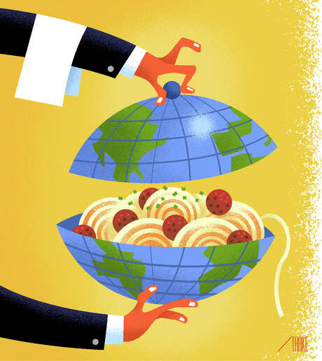 -- ILLUSTRATION MOVED IN ADVANCE AND NOT FOR USE - ONLINE OR IN PRINT - BEFORE AUG. 28, 2016. -- Want a memorable meal while traveling? Dine like a resident by asking locals for suggestions, and try appetizers instead of entrees. (Bob Staake/The New York Times) -- NO SALES; FOR EDITORIAL USE ONLY WITH TRAVEL MEALS ADV28 BY SHIVANI VORA FOR AUG. 28, 2016. ALL OTHER USE PROHIBITED. -- Photo: BOB STAAKE, STR / NYTNS
