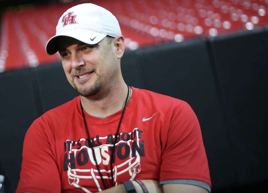 UH coach Tom Herman is trying to downplay the importance of Saturday's game against Oklahoma, saying there's not a champion-ship at stake, but that's a hard sell as the game matches the No. 3 and 15 teams in country. Photo: Elizabeth Conley, Staff / © 2015 Houston Chronicle
