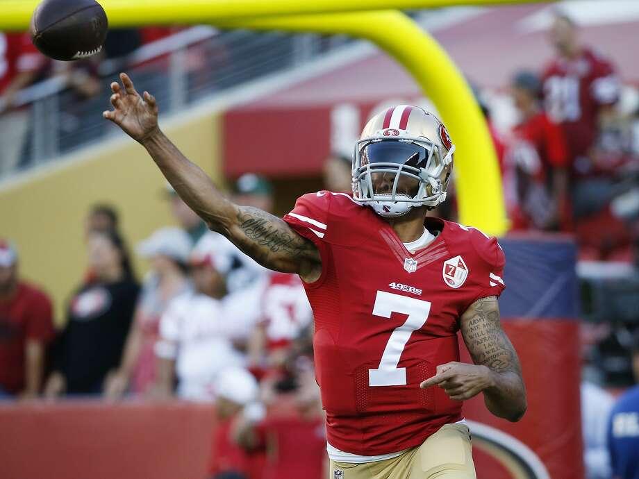 4bb767ed6 San Francisco 49ers quarterback Colin Kaepernick warms up before the start  of an NFL preseason football