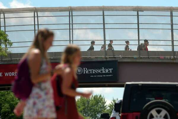 Students on the RPI campus make their way to and from classes on Monday, Aug. 29, 2016, in Troy, N.Y.   RPI has 1,700 new students this fall, the largest incoming class in school history.   (Paul Buckowski / Times Union)