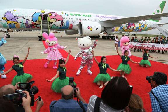 Sanrio characters perform in 2015 to celebrate EVA Air's Hello Kitty jet arriving in Houston.