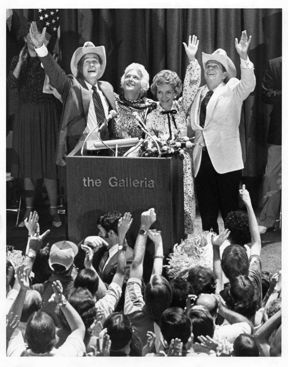 07/19/1980 - The GOP nominees - George Bush and Ronald Reagan and their wives, Barbara and Nancy - make their first post-convention appearance at the Houston Galleria shopping mall.