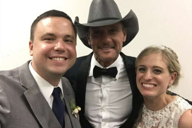 """Country singer Tim Mcgraw showed up for a surprise performance at a wedding reception. He sang """"My Little Girl"""" during the father daughter dance as well as some other hits. McGraw may not be really old, but he is definitely one of the greats, especially after doing something so special for a bride. Take a look through the gallery to see some of country music's living legends.  Photo: Paul Getz Twitter"""