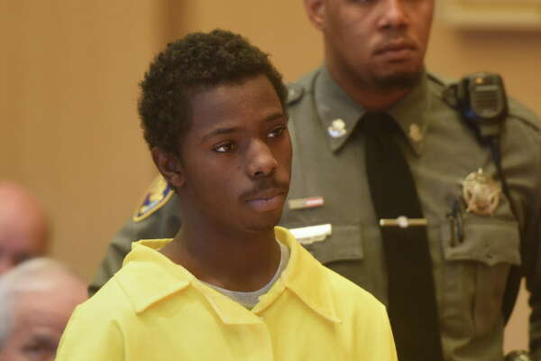 Marquest Hall, 15, is arraigned at the Connecticut Superior Court in Stamford, Conn. Tuesday, March 31, 2015. Hall is being charged as an adult for the homicide of Antonio Muralles, who was stabbed outside a McDonald's on Bedford Street on March 11, 2015.