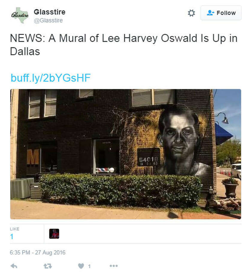 Members Only, a barbershop in Dallas' Bishop Arts neighborhood, is getting some extra attention this week after installing a mural on the side of the shop depicting alleged JFK assassin Lee Harvey Oswald. Photo: Glasstire / Twitter