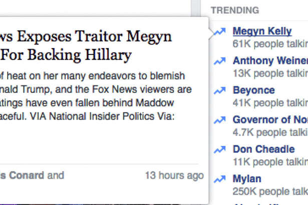 """Here's what Facebook displayed Monday morning when you hovered over """"Megyn Kelly."""" MUST CREDIT: Facebook screenshot"""