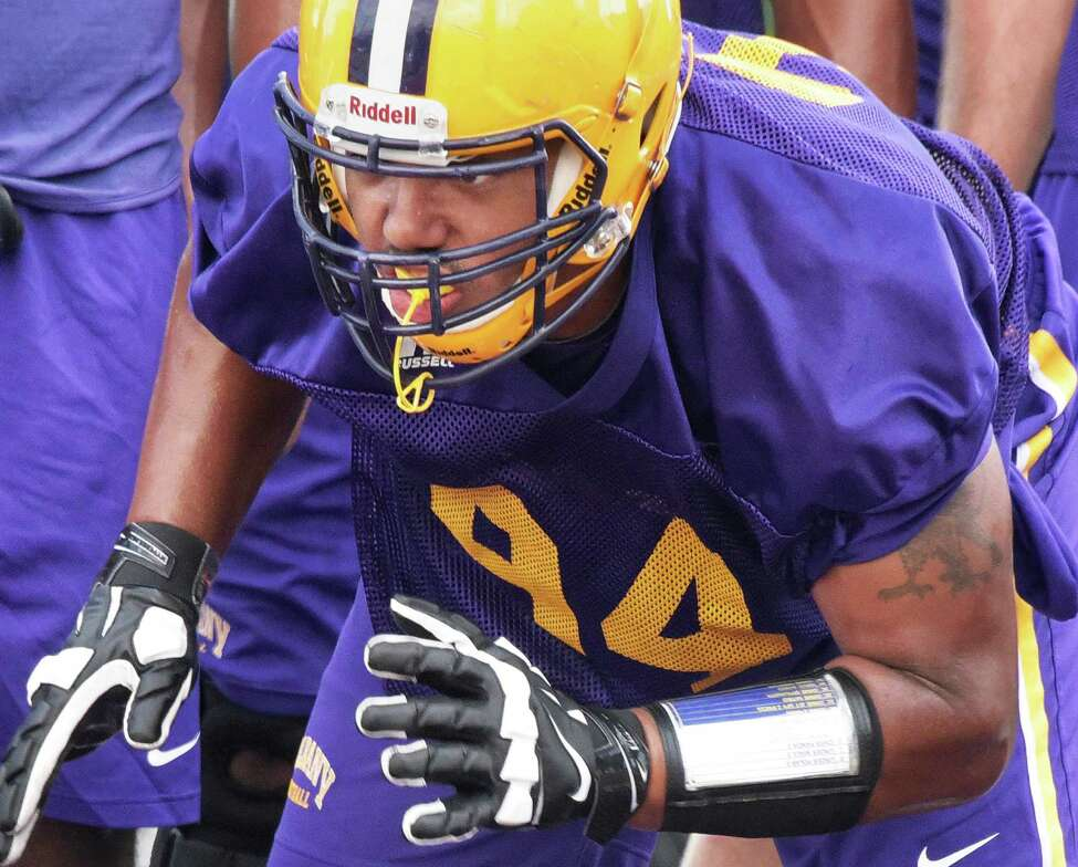 UAlbany football defensive lineman Nick Griffin runs a drill during practice at Casey Stadium Saturday Aug. 13, 2016 in Albany, NY. (John Carl D'Annibale / Times Union)