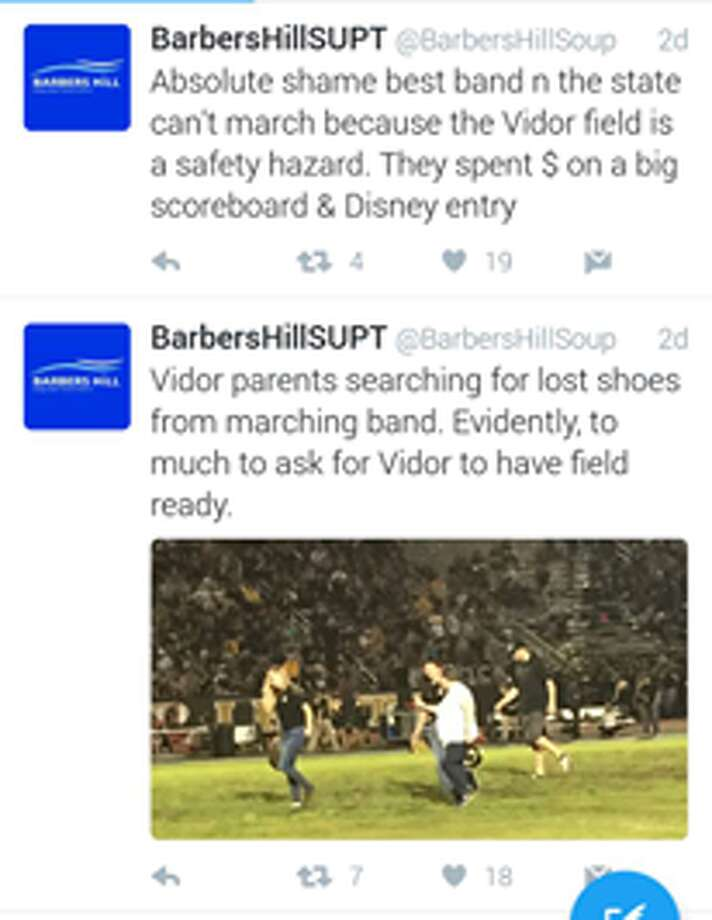 The Barbers Hill ISD superintendent made comments about the condition of the football field during the high school's game at Vidor on Friday. Superintendent Greg Poole has since apologized for the comments and deleted them from his Twitter account. Photo: Twitter