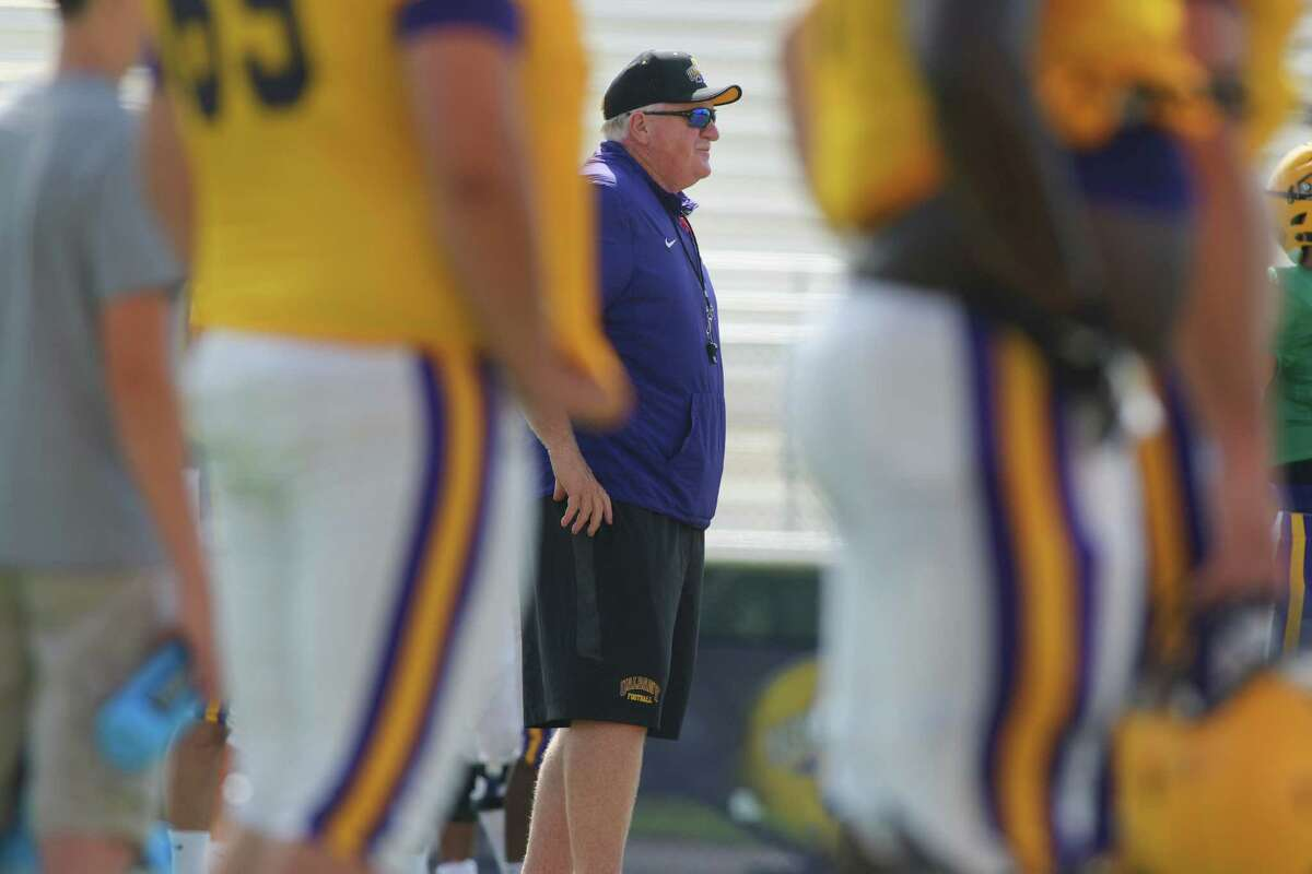 University at Albany football head coach Greg Gattuso watches his team practice on Wednesday, Aug. 17, 2016, in Albany, N.Y. (Paul Buckowski / Times Union)