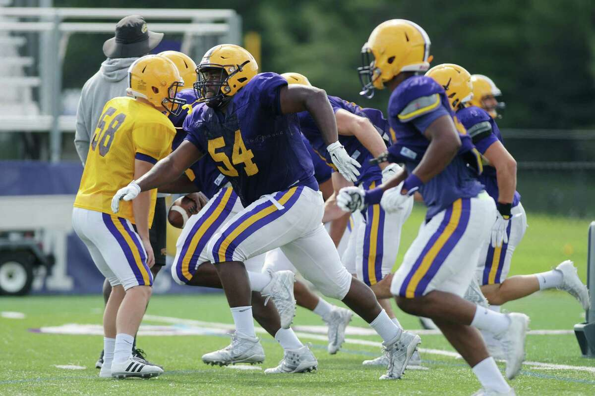 University at Albany football players run through drills at practice on Wednesday, Aug. 17, 2016, in Albany, N.Y. (Paul Buckowski / Times Union)
