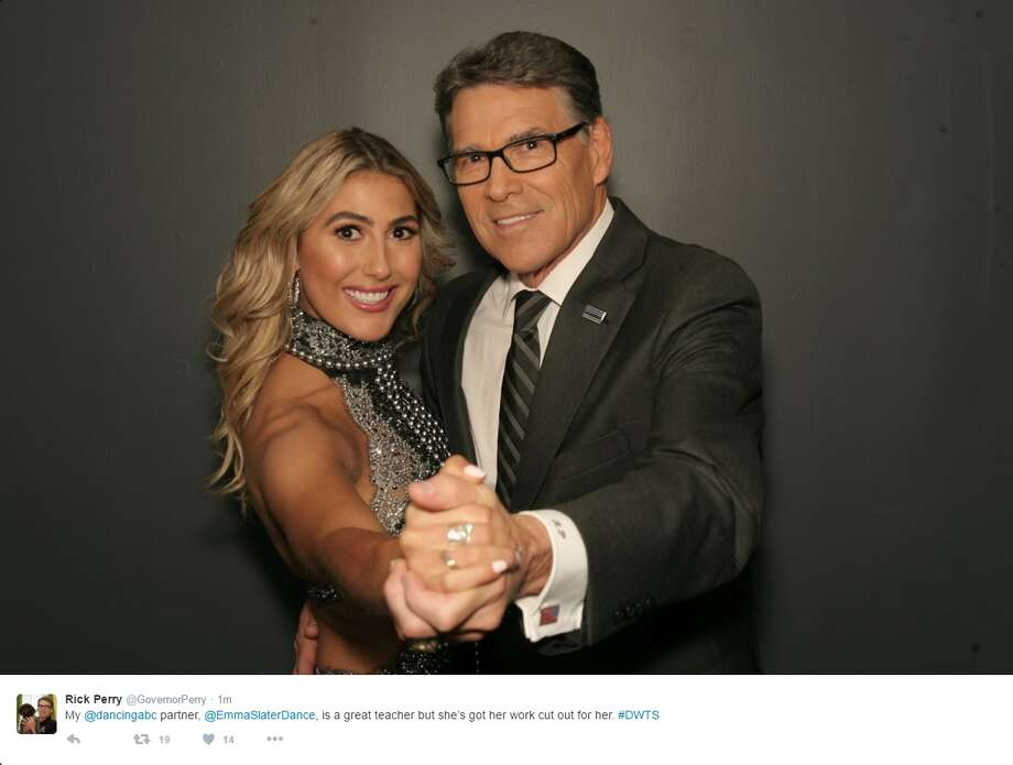 "@GovernorPerry on Twitter: ""My @dancingabc partner, @EmmaSlaterDance, is a great teacher but she's got her work cut out for her. #DWTS"" Photo: Courtesy/Twitter"