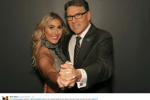 """@GovernorPerry: """"My @dancingabc partner, @EmmaSlaterDance, is a great teacher but she's got her work cut out for her. #DWTS"""""""
