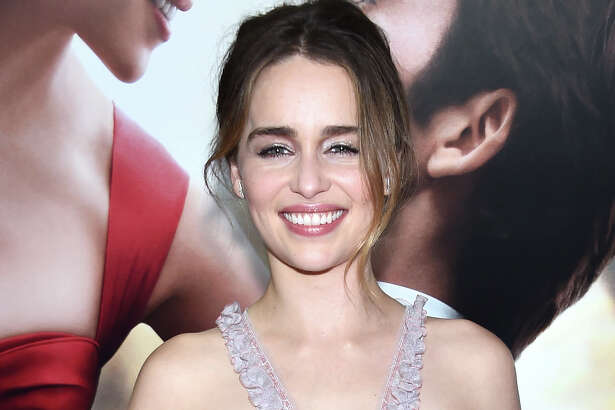 """Emilia Clarke, attending """"Me Before You,"""" shows off the smile she uses to beat back co-star Sam Claflin's depression in the romantic drama, which is now on Blu-ray."""