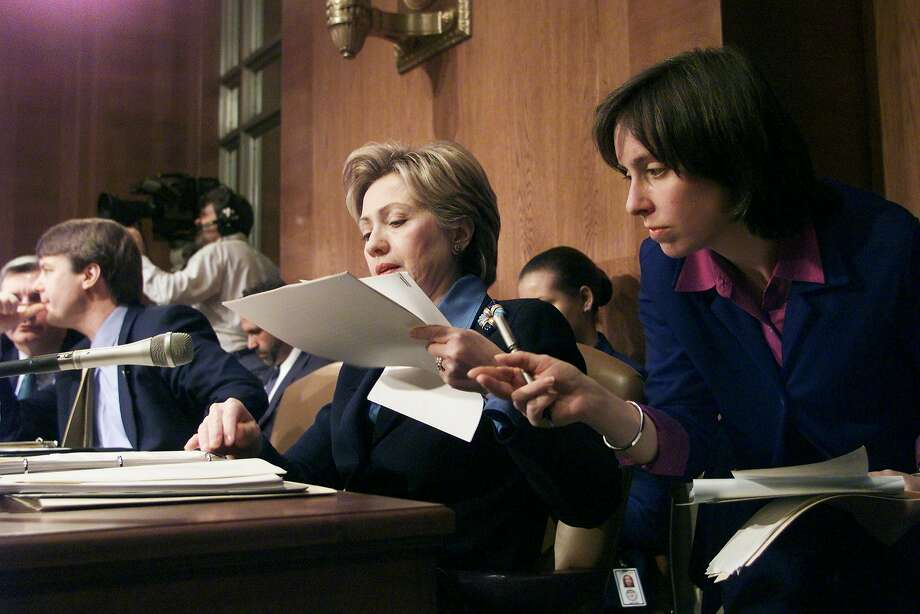 In this file photo from circa 2000,  Sen. Hillary Rodham Clinton confers with Ann O'Leary, her deputy legislative director, at a hearing of the Health, Education. Labor and Pensions Committee. Photo: Harry Hamburg, NY Daily News Via Getty Images