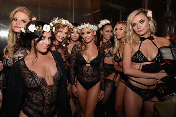 LAS VEGAS, NV - AUGUST 27: (L-R) Playboy Playmates Anna Sophia Berglund, Val Keil, Dominique Jane, Hiromi Oshima, Audrey Aleen Allen, Shanice Jordyn, Heather Rae Young, and Alexandra Tyler attend the Playboy Midsummer Night's Dream party at the Marquee Nightclub at The Cosmopolitan of Las Vegas on August 27, 2016 in Las Vegas, Nevada.  (Photo by David Becker/Getty Images for Playboy Enterprises)