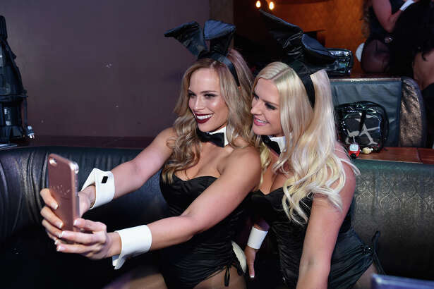 LAS VEGAS, NV - AUGUST 27:  Bunnies pose for a selfie during the Playboy Midsummer Night's Dream party at the Marquee Nightclub at The Cosmopolitan of Las Vegas on August 27, 2016 in Las Vegas, Nevada.  (Photo by David Becker/Getty Images for Playboy Enterprises)