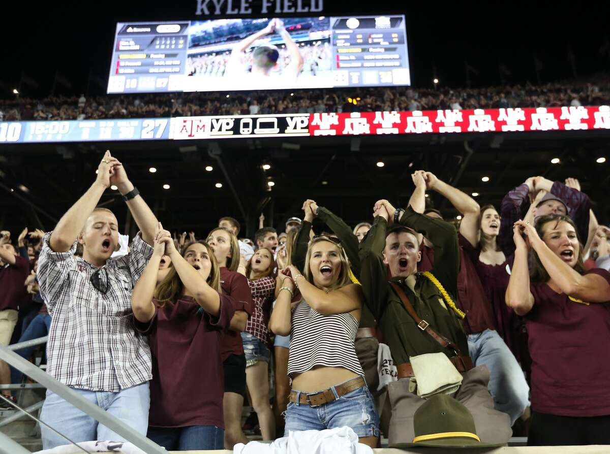 Texas A&M Aggies fans and Corps cheer against the Mississippi State Bulldogs on October 3, 2015 at Kyle Field in College Station, Texas. Keep going for a closer look at the many traditions in College Station.