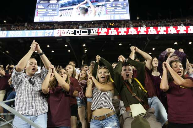 COLLEGE STATION, TX - OCTOBER 03: Texas A&M Aggies fans and  Corps cheer against the Mississippi State Bulldogs on October 3, 2015 at Kyle Field in College Station, Texas. Aggies won 30 to 17. (Photo by Thomas B. Shea/Getty Images)