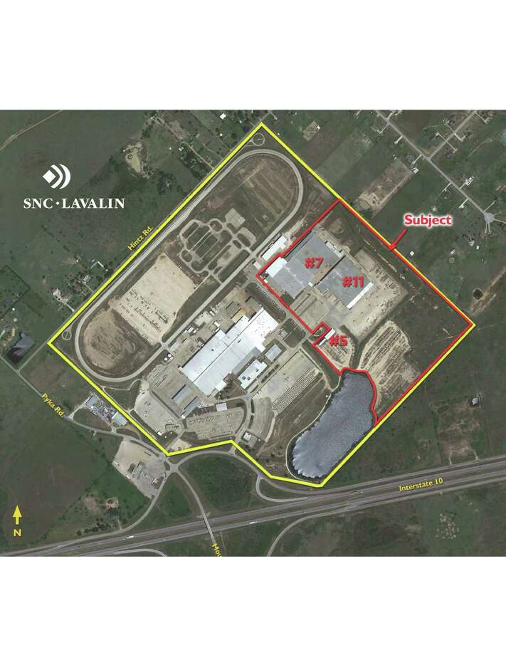 Valerus Field Solutions has leased buildings totaling 396,000 square feet at 5000 Northwest I-10 Frontage Road in Sealy. The buildings are outlined in red. Cushman & Wakefield handled the lease for the owner, Five Star Properties. Photo: SNC-Lavalin