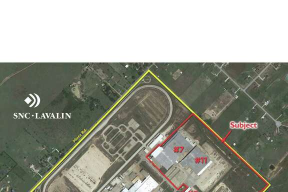 Valerus Field Solutions has leased buildings totaling 396,000 square feet at 5000 Northwest I-10 Frontage Road in Sealy. The buildings are outlined in red. Cushman & Wakefield handled the lease for the owner, Five Star Properties.