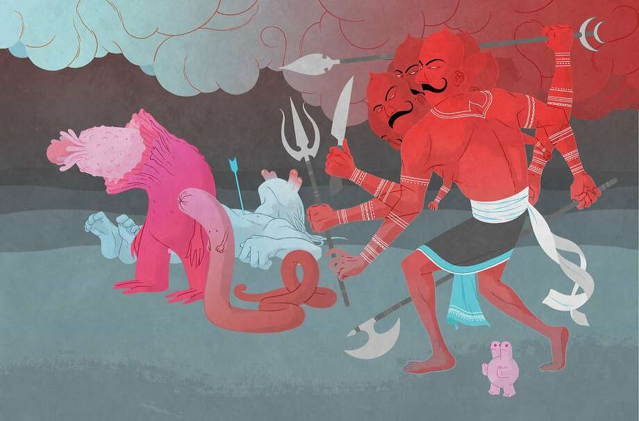 """Jon Adams was commissioned by the Asian Art Museum to draw """"Ravana With demons"""" for the contemporary comics project. Photo: Courtesy Of The Asian Art Museum"""