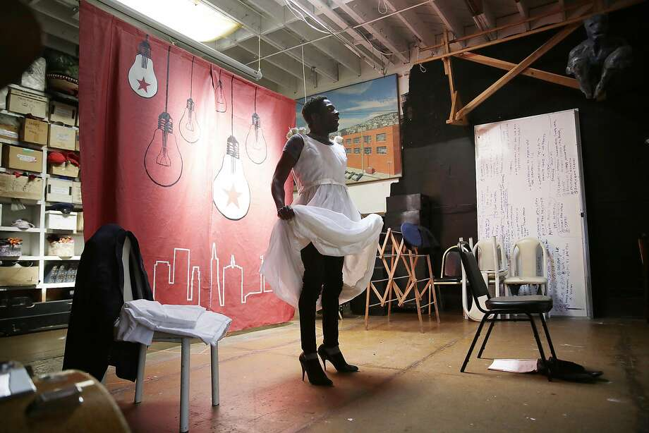 "Rotimi Agbabiaka rehearses his solo show, ""Type/Caste,"" which explores the prejudice and complexities in the theater world as a microcosm. Photo: Lea Suzuki, The Chronicle"