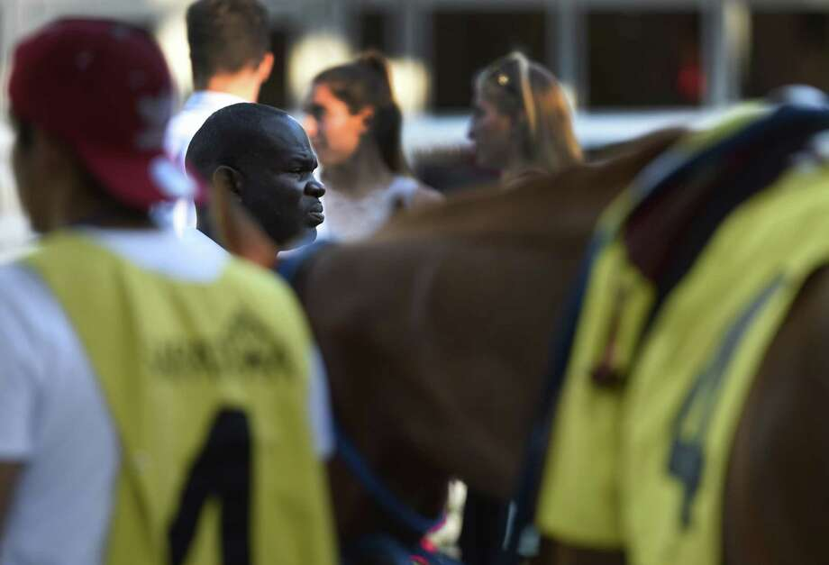 Trainer Charlton Baker keeps a close eye on his charge Ecliptical Jake in the 10th race at the Saratoga Race Course August 29, 2016 in Saratoga Springs, N.Y.   (Skip Dickstein / Times Union) Photo: SKIP DICKSTEIN
