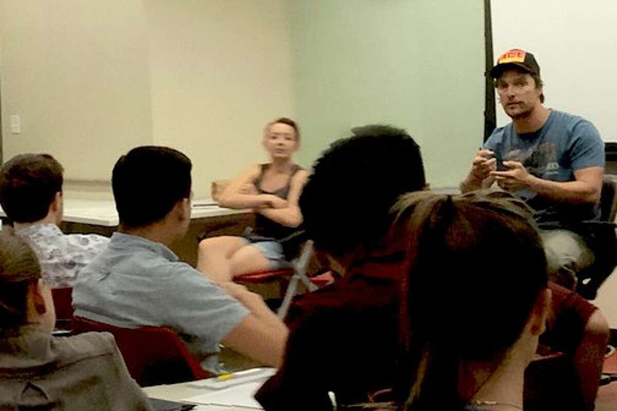 "@moodycollege: ""Last week, @McConaughey visited @UTRTF's Advanced Producing: Script-to-Screen class! #moodypride #whatstartshere"""