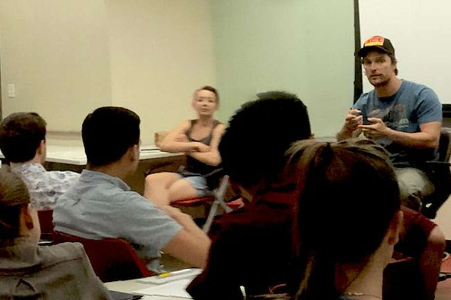 "@moodycollege: ""Last week, @McConaughey visited @UTRTF's Advanced Producing: Script-to-Screen class! #moodypride #whatstartshere"" Photo: Courtesy/Twitter"