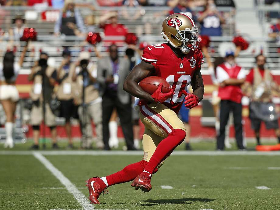 San Francisco 49ers wide receiver Bruce Ellington during the first half of an NFL preseason football game against the Houston Texans Sunday, Aug. 14, 2016, in Santa Clara, Calif. (AP Photo/Tony Avelar) Photo: Tony Avelar, Associated Press