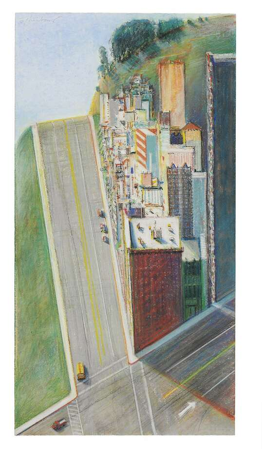 "Wayne Thiebaud's ""City and Streets"" (1995), drawn in pastel, charcoal and graphite. Photo: Christie's Images Ltd."