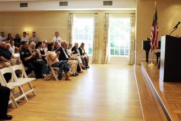 Police chief Duane Lovello addressed the crowd at the Darien Police Department's promotion ceremony on Monday, Aug. 29, 2016 at the Darien Community Association in Darien, CT.