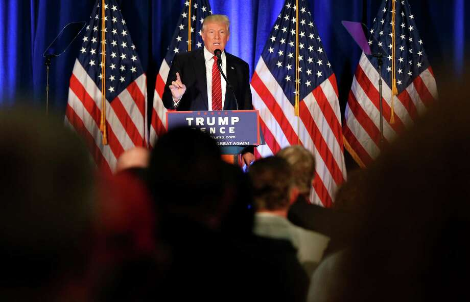 Republican Presidential candidate Donald Trump speaks in Youngstown, Ohio, Monday, Aug. 15, 2016. (AP Photo/Gerald Herbert) Photo: Gerald Herbert, STF / Copyright 2016 The Associated Press. All rights reserved. This material may not be published, broadcast, rewritten or redistribu