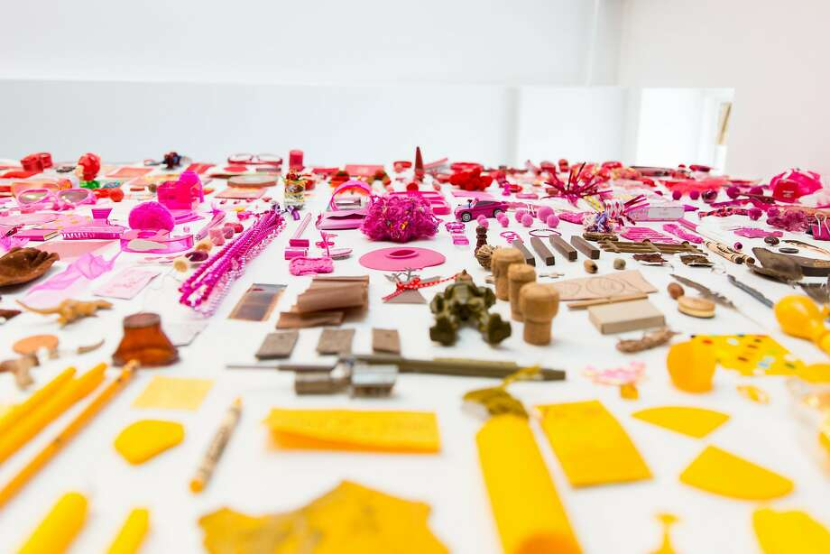 """Artists Lisa Solomon and Christine Buckton Tillman's """"Chroma,"""" is composed of everyday objects arranged by color. Photo: Sarah Deragon, Rare Device"""
