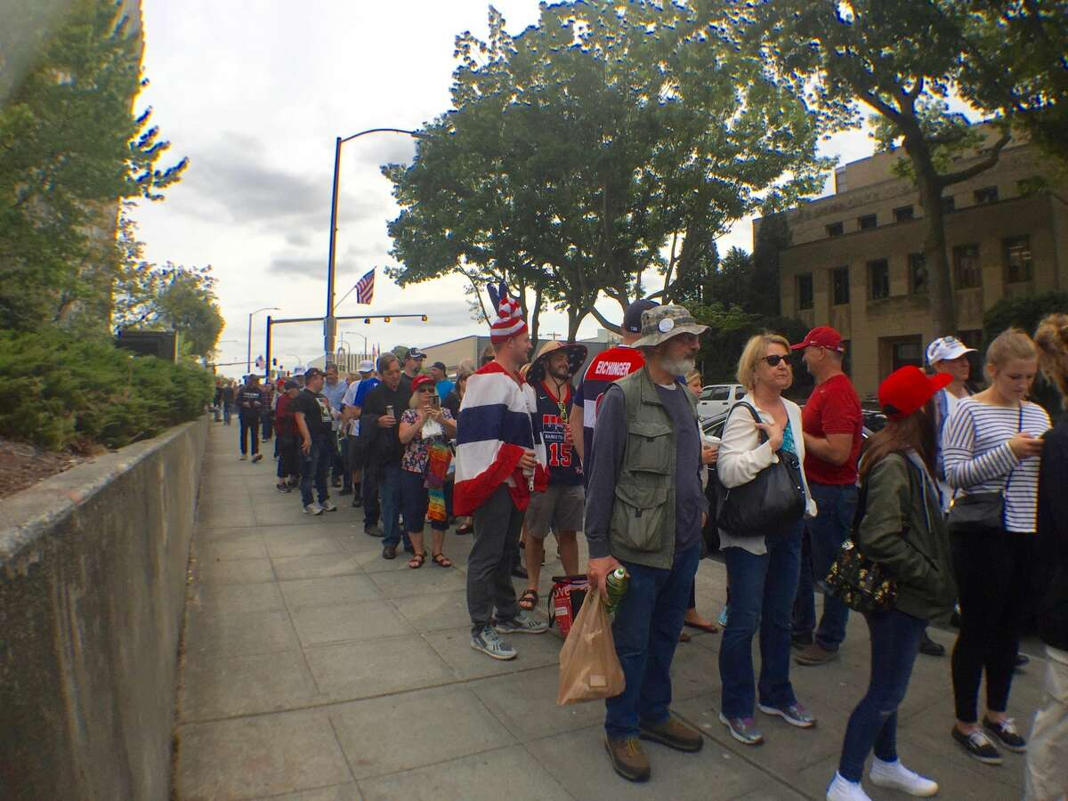 The Trump base: Republican presidential candidate Donald Trump supporters and the curious lined up early Tuesday for the 7 p.m. rally in Everett.