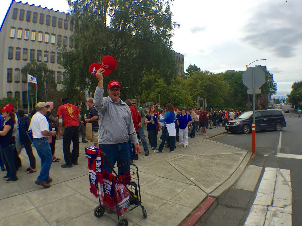 The base that has stayed loyal to Trump: Republican presidential candidate Donald Trump supporters and the curious lined up early Tuesday for the 7 p.m. rally in Everett.