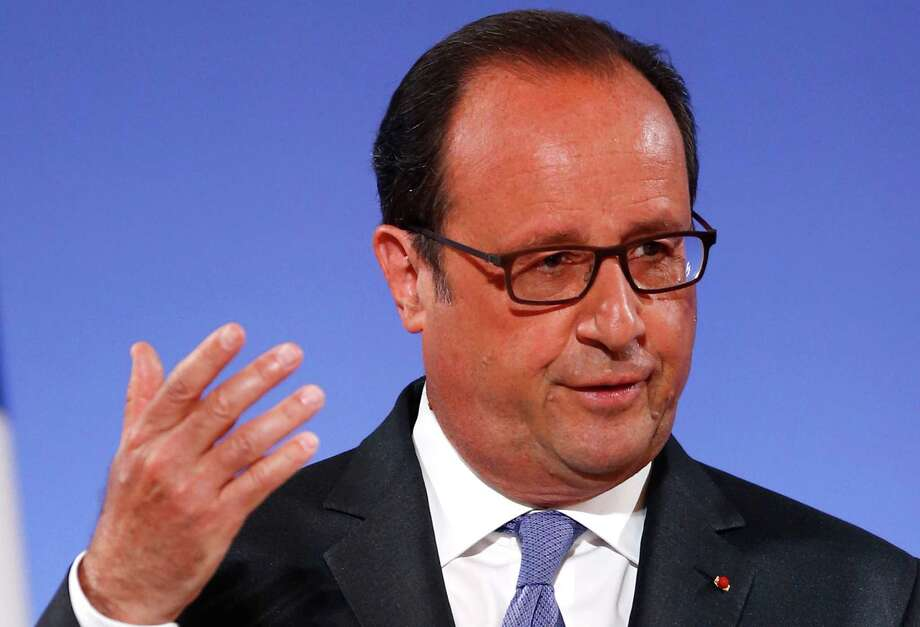 French President Francois Hollande gestures as he addresses French ambassadors, Tuesday Aug. 30, 2016 in Paris. (AP Photo/Francois Mori, Pool) Photo: Francois Mori, STF / Copyright 2016 The Associated Press. All rights reserved.