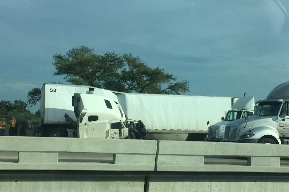 Interstate 35 south was backed up for miles due to a traffic accident near the Medina River.