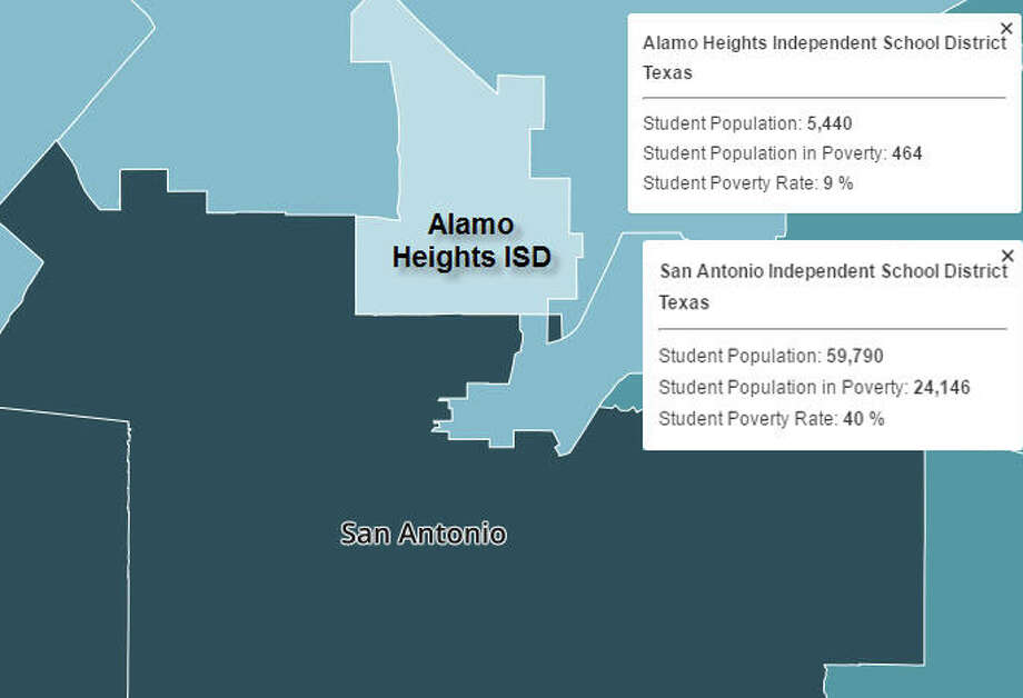 San Antonio ISD vs. Alamo Heights ISDTexas Ranking: 1US Ranking: 72High Poverty Household Income: $31,045Low Poverty Household Income: $80,796 Photo: EdBuild Screenshot
