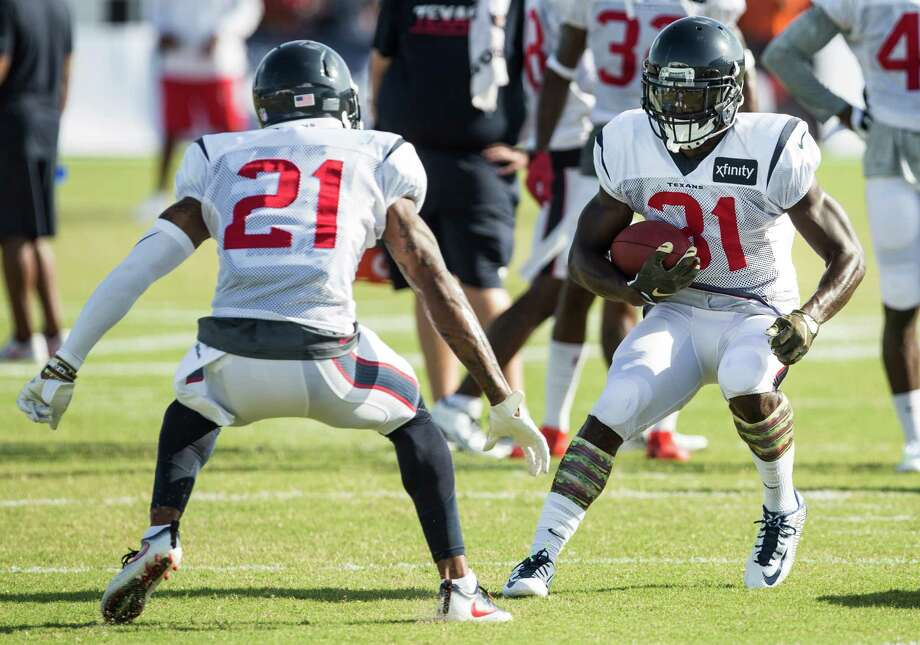A.J. Bouye (21) and  Charles James (31) make cornerback one of the Texans' deepest positions. Photo: Brett Coomer, Staff / © 2016 Houston Chronicle