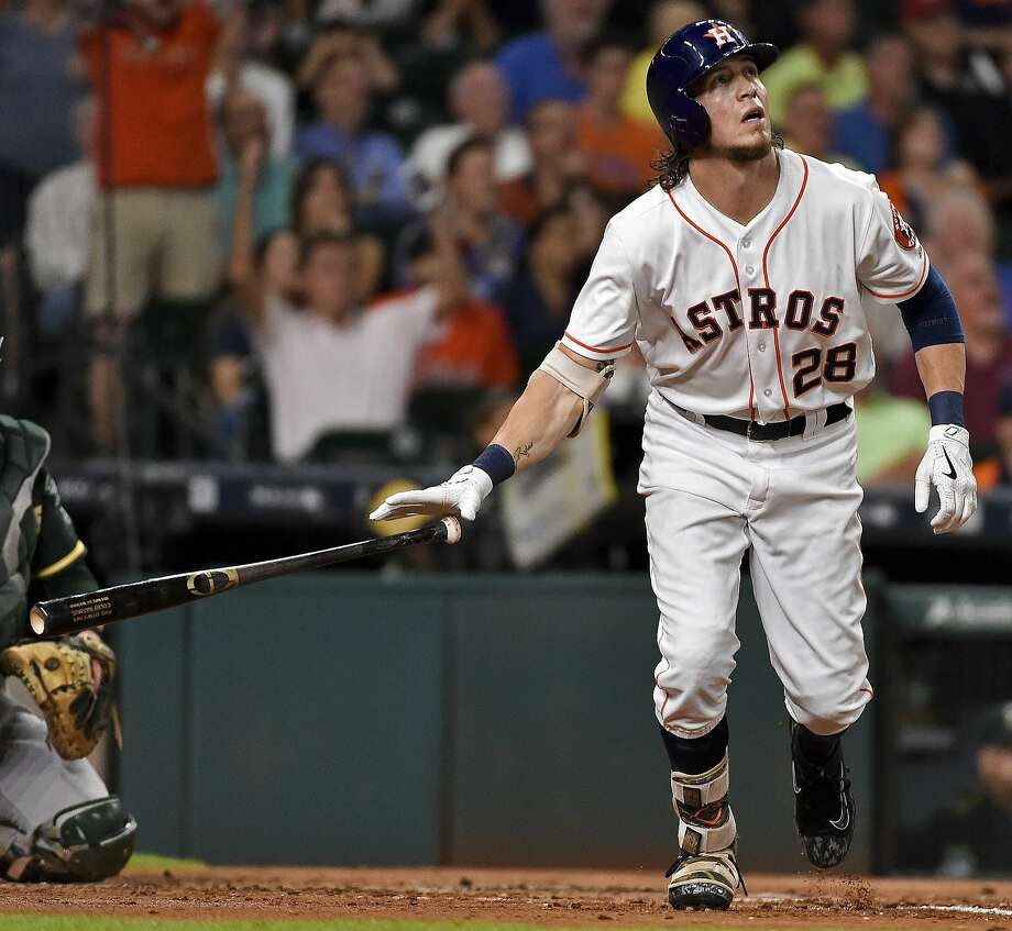 Houston Astros' Colby Rasmus watches his solo home run off Oakland Athletics starting pitcher Kendall Graveman during the second inning of a baseball game, Tuesday, Aug. 30, 2016, in Houston. (AP Photo/Eric Christian Smith) Photo: Eric Christian Smith, Associated Press