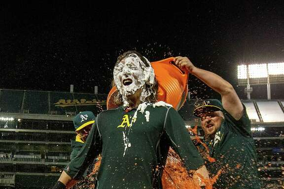 Billy Butler of the Oakland Athletics drenches teammate Josh Reddick with Gatorade last month in Oakland during a game against the Astros. PepsiCo has a new version of the drink that is certified organic.