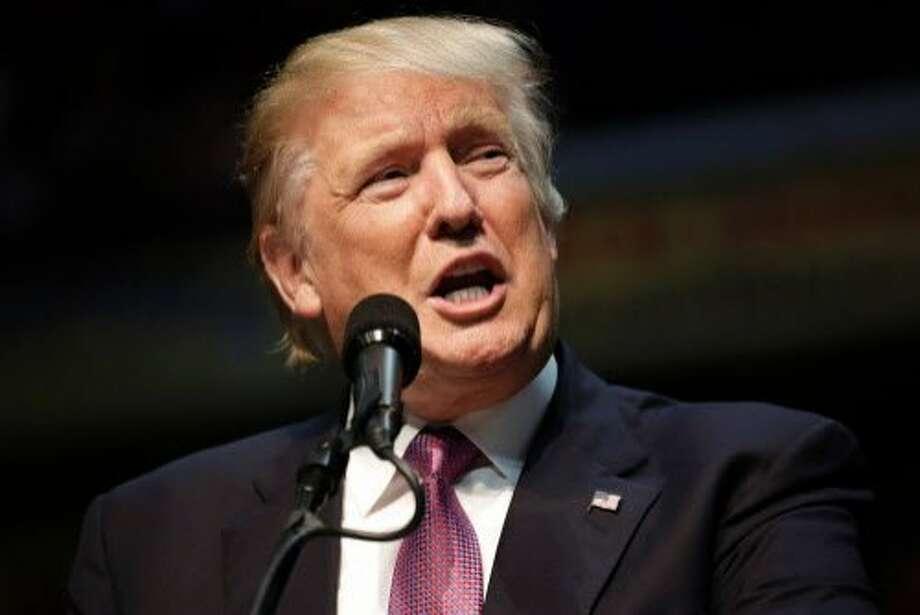 Trump advances baselessspeaks at a rally at Xfinity Arena in Everett, Washington on August 30, 2016. / AFP PHOTO / Jason RedmondJASON REDMOND/AFP/Getty Images Photo: JASON REDMOND, AFP/Getty Images
