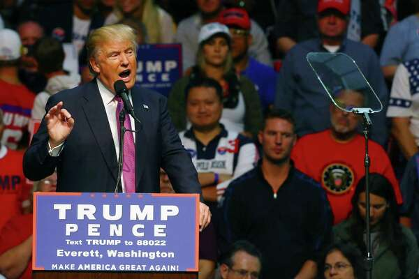 Republican Presidential candidate Donald Trump speaks during a rally, Tuesday, Aug. 30, 2016 at Xfinity Arena in Everett.