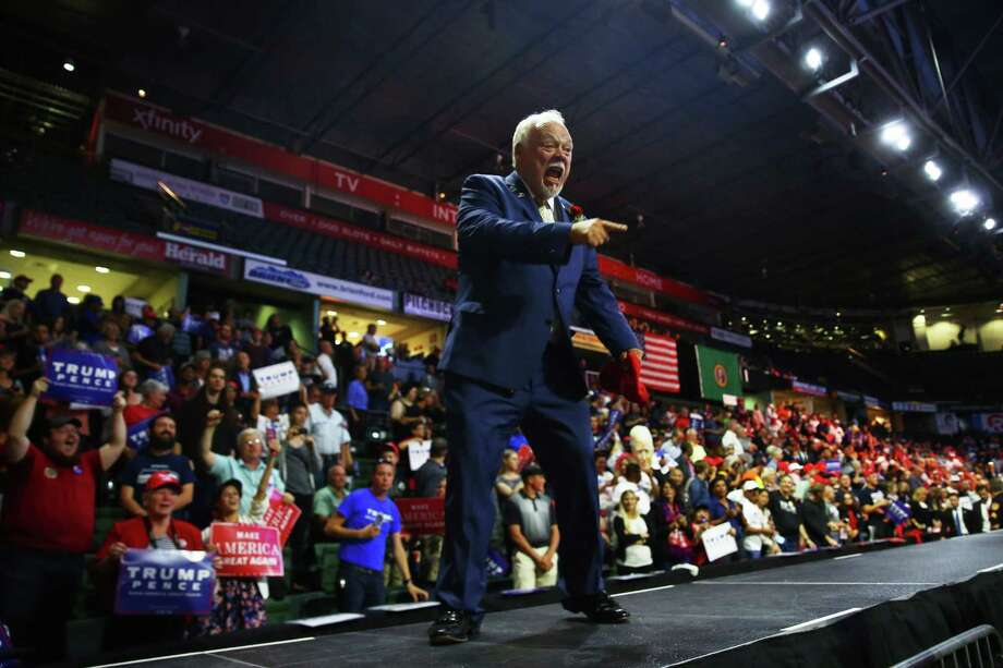 "Washington State Republican Senator Don Benton greets the crowd after speaking during an Everett rally for Republican Presidential candidate Donald Trump, Benton is helping lead a Trump political ""beachhead team"" at the U.S. Environmental Protection Agency, where major cuts are planned. Photo: GENNA MARTIN, SEATTLEPI.COM / SEATTLEPI.COM"